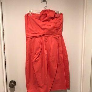 J. Crew coral strapless dress